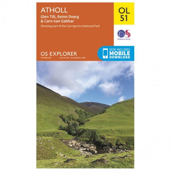 Ordnance Survey - Atholl / Glen Tilt / Beinn Dearg Outdoor - Wanderkarte