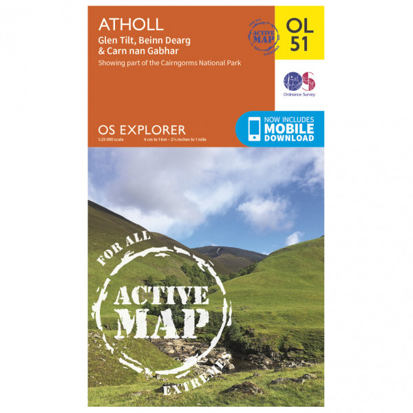 Ordnance Survey - Atholl / Glen Tilt / Beinn Dearg Waterproof - Vaelluskartat