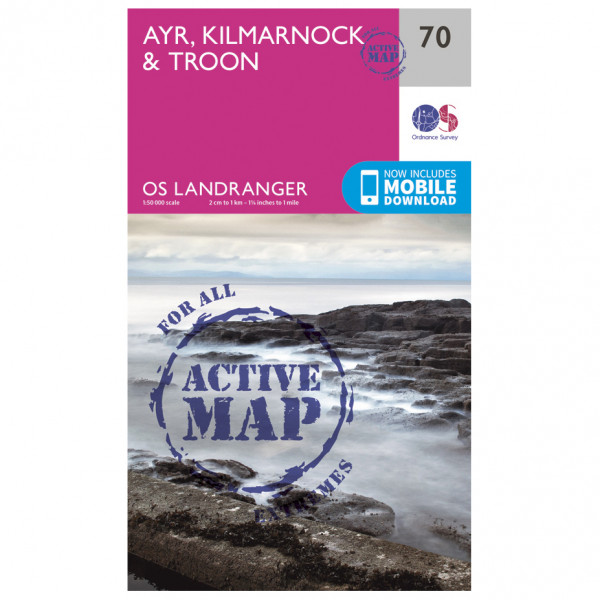 Ordnance Survey - Ayr / Kilmarnock / Troon Waterproof - Hiking map