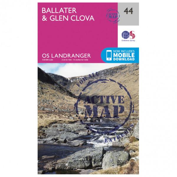 Ordnance Survey - Ballater / Glen Clova Waterproof - Vandrekort