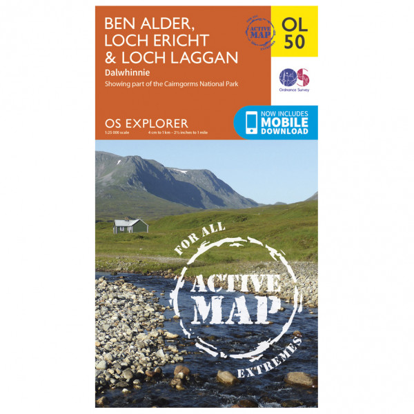 Ordnance Survey - Ben Alder / Loch Ericht / Loch Laggan Waterproof - Hiking map