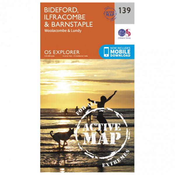 Ordnance Survey - Bideford / Ilfracombe / Barnstable Waterproof - Vandrekort