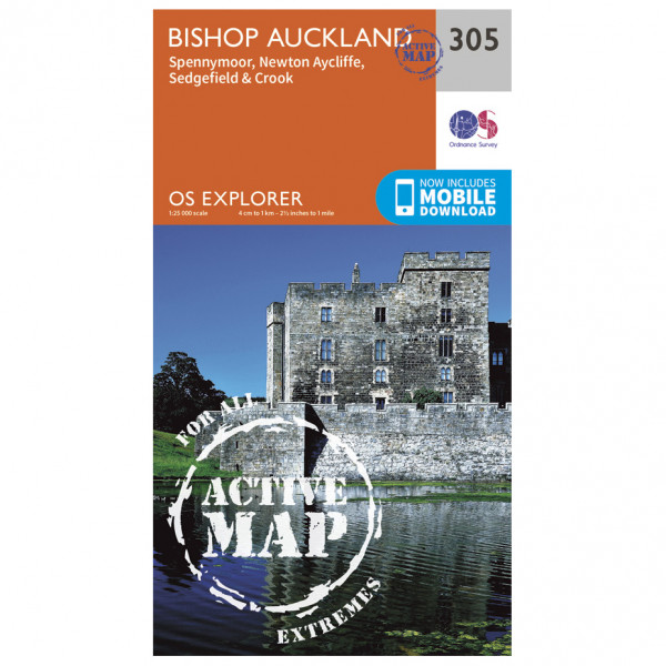 Ordnance Survey - Bishop Auckland Waterproof EXPL305 - Wanderkarte