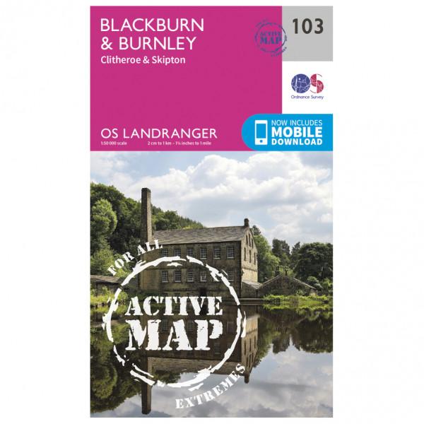 Ordnance Survey - Blackburn & Burnley, Clitheroe Waterproof LA103 - Wanderkarte