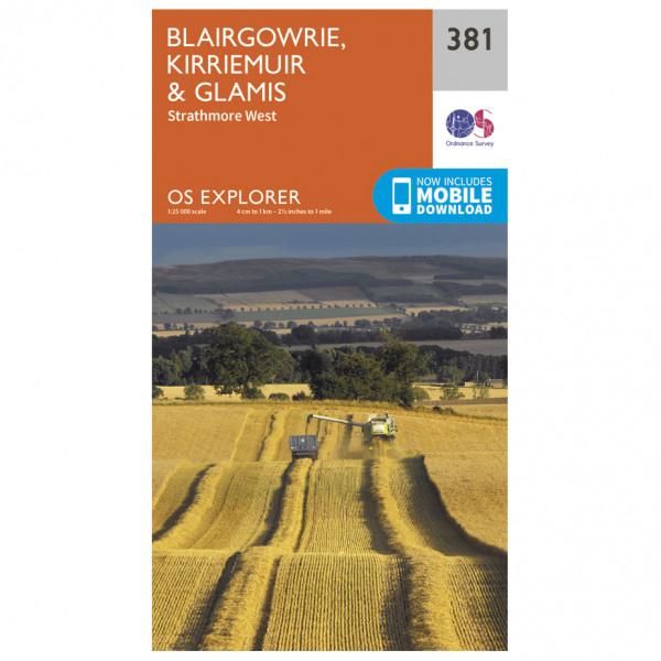 Ordnance Survey - Blairgowrie / Kirriemuir / Glamis EXP381 - Wanderkarte