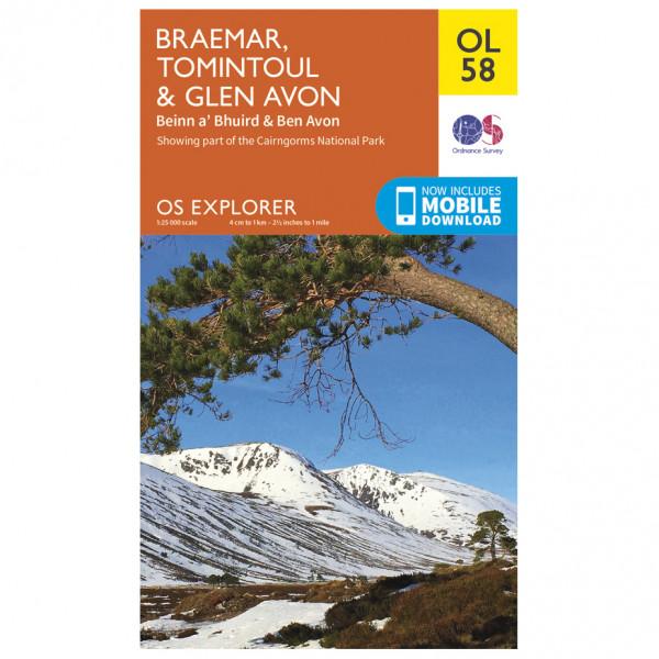 Ordnance Survey - Braemar / Tomintoul / Glen Avon Outdoor - Hiking map