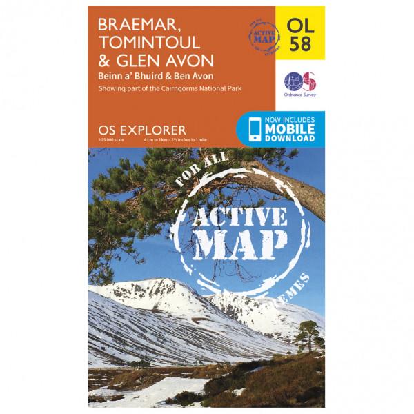 Ordnance Survey - Braemar / Tomintoul / Glen Avon Waterproof - Carte de randonnée