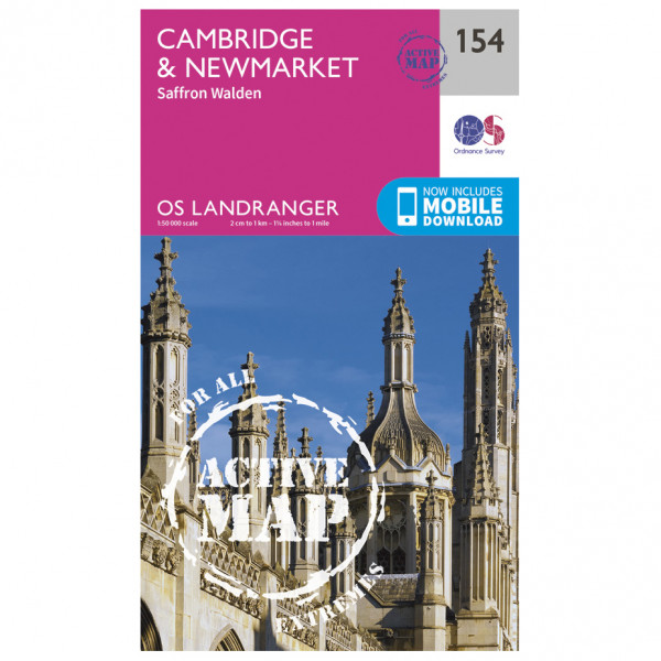 Ordnance Survey - Cambridge / Newmarket / Saffron Walden Waterproof - Vandringskartor