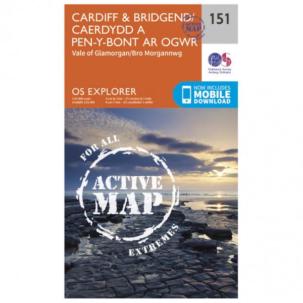 Ordnance Survey - Cardiff / Bridgend / Caerdydd A Phen-Y-Bont Waterproof - Hiking map