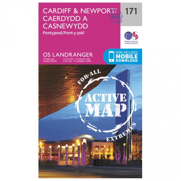 Ordnance Survey - Cardiff / Newport / Pontypool Waterproof - Wandelkaarten