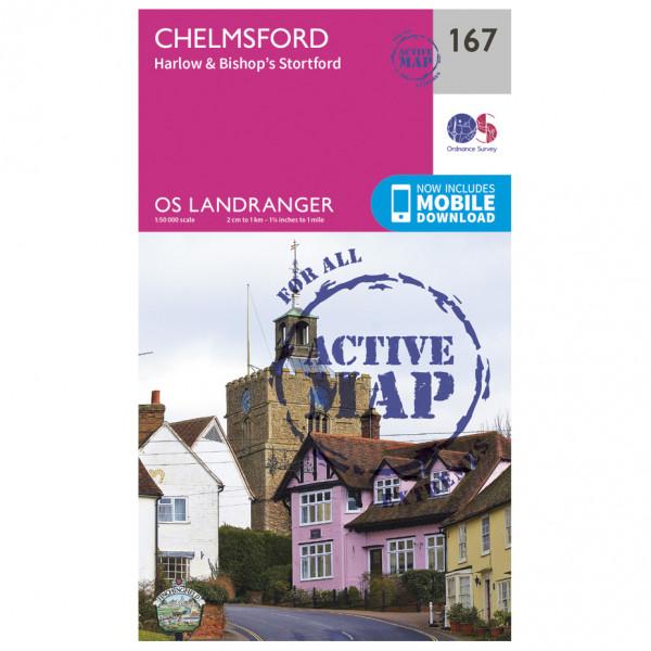 Ordnance Survey - Chelmsford / Harlow / Bishop's Stortford Waterproof LA167 - Wanderkarte