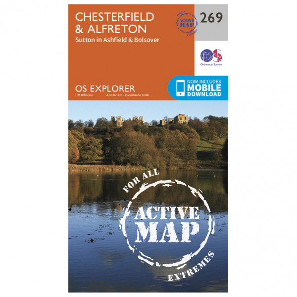 Ordnance Survey - Chesterfield / Alfreton Waterproof - Vandrekort