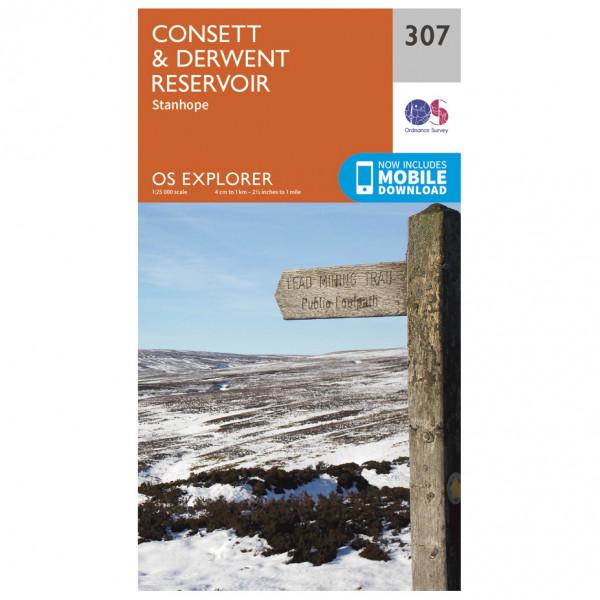 Ordnance Survey - Consett / Derwent Reservoir EXP307 - Wanderkarte