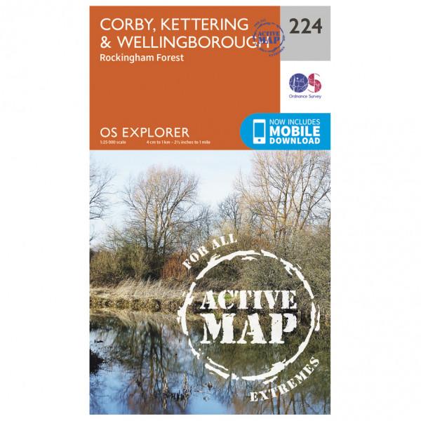 Ordnance Survey - Corby / Kettering / Wellingborough Waterproof - Hiking map