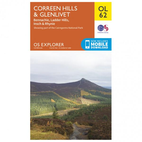 Ordnance Survey - Correen Hills / Glenlivet / Bennachie Outdoor - Vandrekort