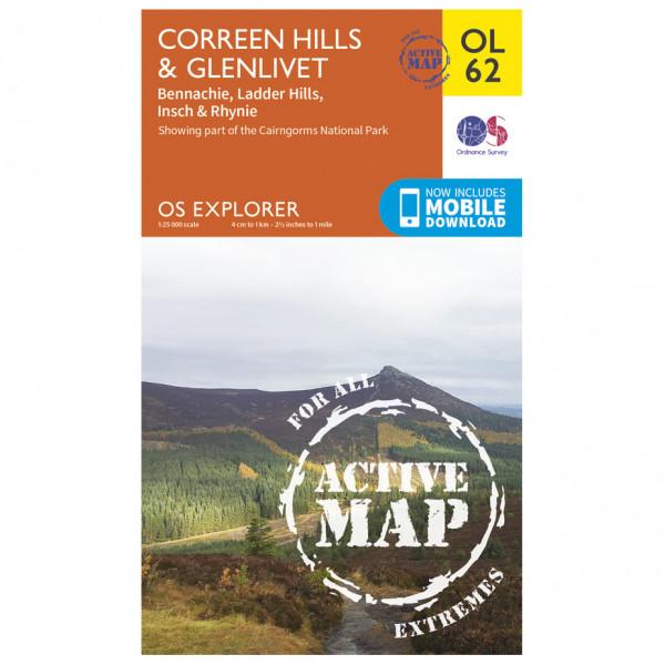 Ordnance Survey - Correen Hills / Glenlivet / Bennachie Waterproof - Vandringskartor