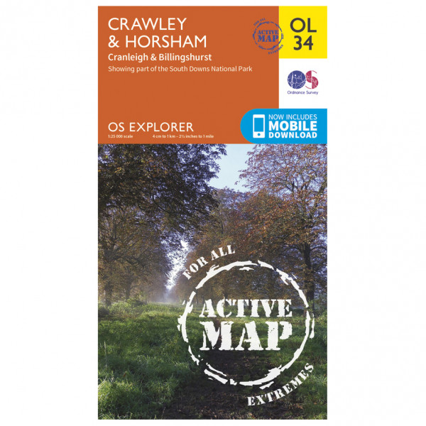 Ordnance Survey - Crawley / Horsham / Cranleigh Waterproof - Hiking map
