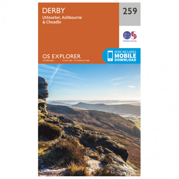 Ordnance Survey - Derby / Utoxeter - Vandrekort