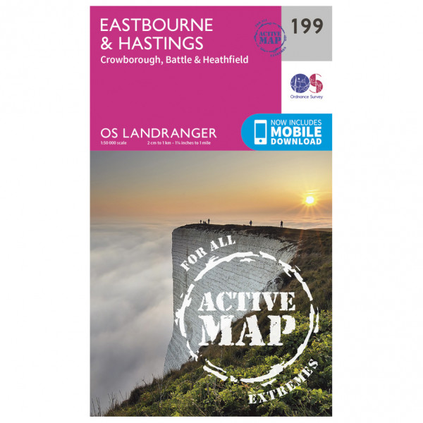 Ordnance Survey - Eastbourne / Hastings / Battle Waterproof - Vaelluskartat