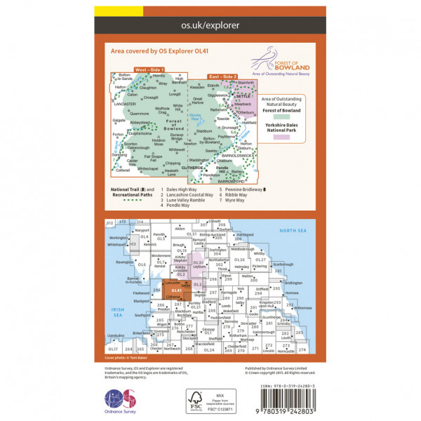 Forest Of Bowland / Ribblesdale Outdoor - Hiking map