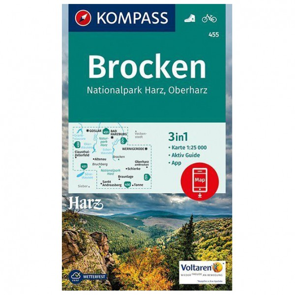 Kompass - Brocken, Nationalpark Harz, Oberharz 1:25T - Hiking map
