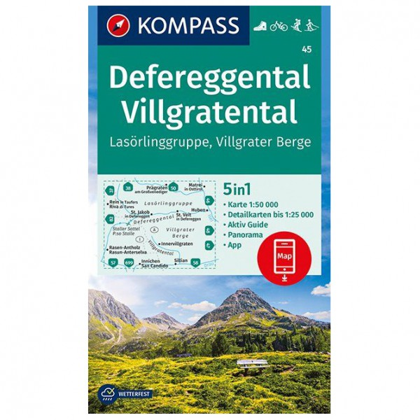 Kompass - Defereggental, Villgratental, Lasörlinggruppe - Hiking map