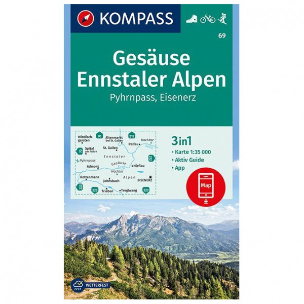 Kompass - Gesäuse, Ennstaler Alpen, Pyhrnpass, Eisenerz - Vandrekort