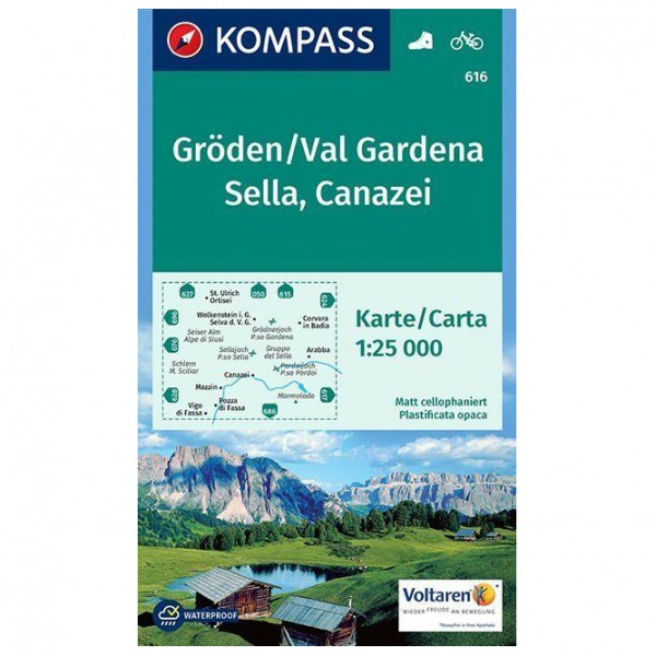 Kompass - Gröden, Val Gardena, Sella, Canazei - Wandelkaarten