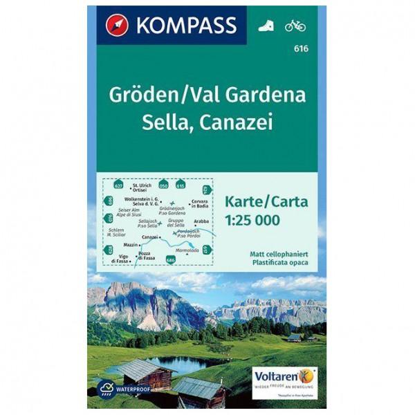 Kompass - Gröden, Val Gardena, Sella, Canazei - Wanderkarte