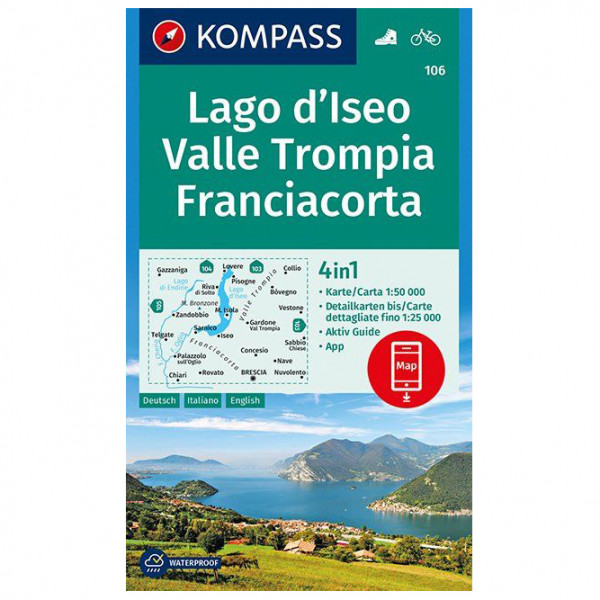 Kompass - Lago d'Iseo, Valle Trompia, Franciacorta - Hiking map