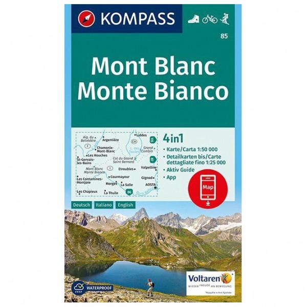 Kompass - Mont Blanc, Monte Bianco - Mapa de senderos