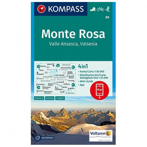Kompass - Monte Rosa, Valle Anzasca, Valsesia - Hiking map
