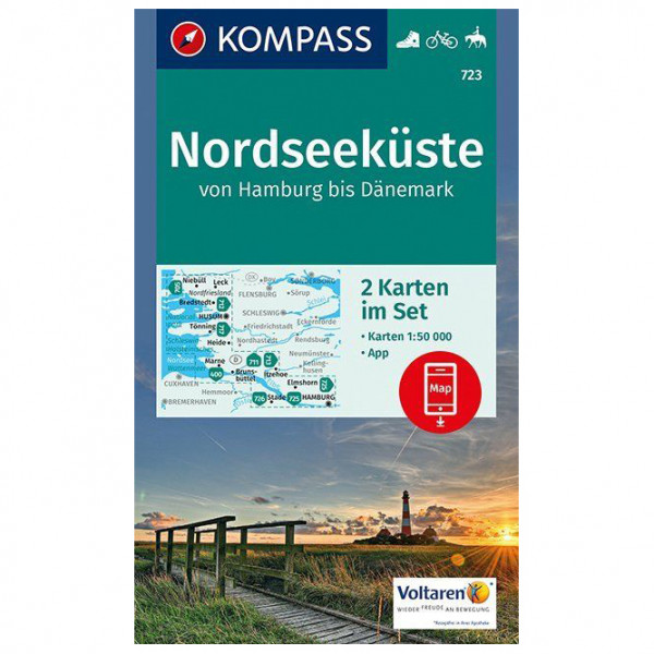 Kompass - Nordseeküste von Hamburg bis Dänemark - Wandelkaarten