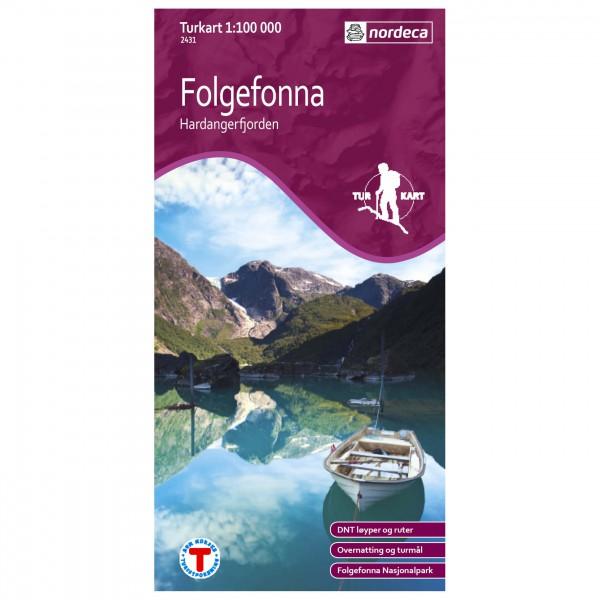Nordeca - Outdoorkarte: Folgefonna-Hardangerfjorden 1/100 - Hiking map