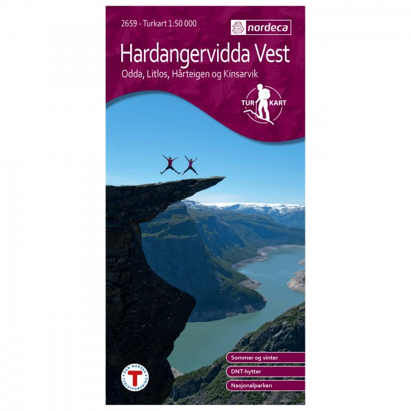 Nordeca - Wander-Outdoorkarte: Hardangervidda Vest 1/50 - Vandringskartor