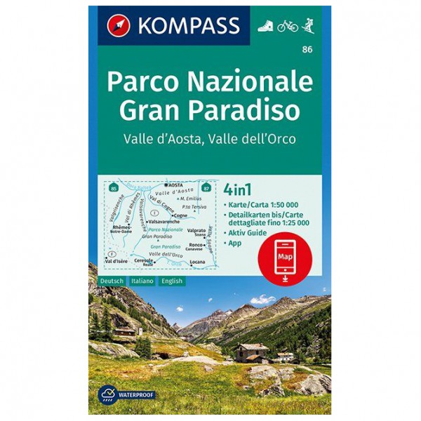 Kompass - Parco Nazionale Gran Paradiso, Valle d'Aosta - Hiking map