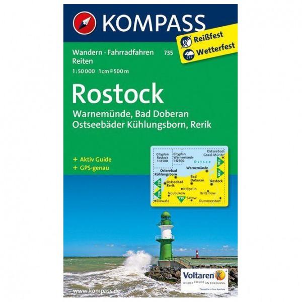 Kompass - Rostock - Warnemünde - Bad Doberan - Vandrekort