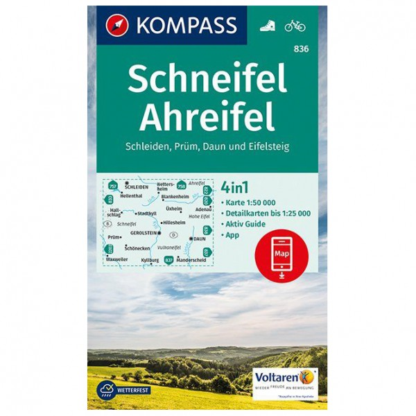 Kompass - Schneifel, Ahreifel, Schleiden, Prüm, Daun - Wanderkarte