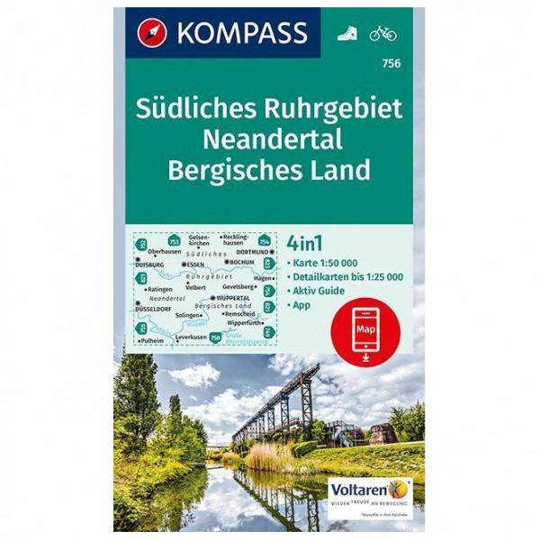 Kompass - Südliches Ruhrgebiet, Neandertal, Bergisches Land - Wanderkarte