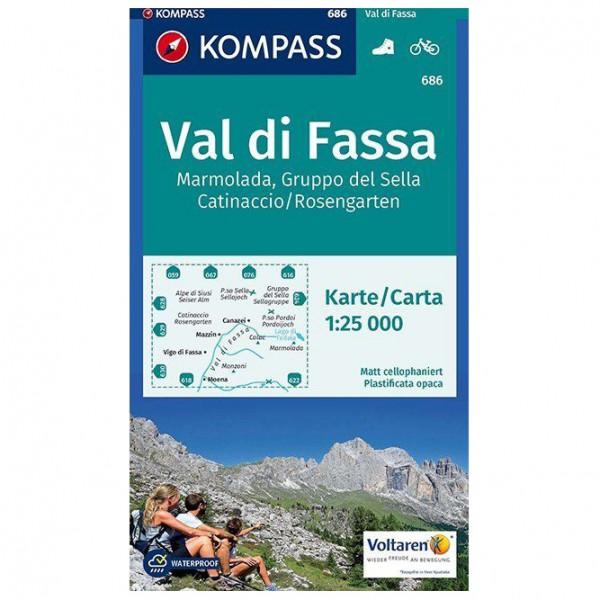 Kompass - Val di Fassa, Marmolada, Gruppo del Sella - Wanderkarte