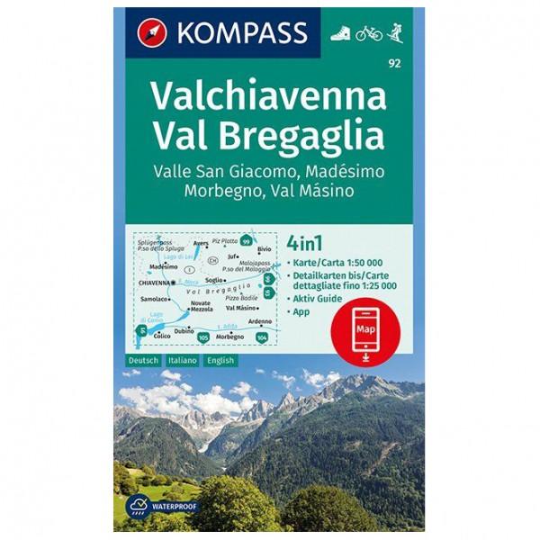 Kompass - Valchiavenna, Val Bregaglia, Valle San Giacomo - Mapa de senderos