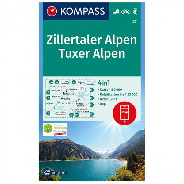 Kompass - Zillertaler Alpen, Tuxer Alpen - Wandelkaarten