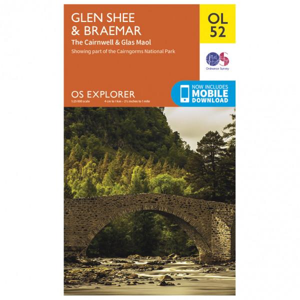 Ordnance Survey - Glen Shee / Braemar / Cairnwell Outdoor - Vandrekort