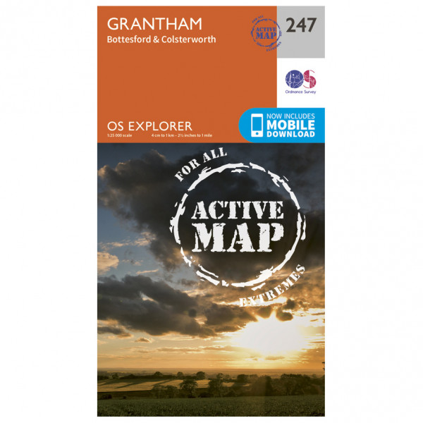 Ordnance Survey - Grantham Waterproof EXPL247 - Wanderkarte