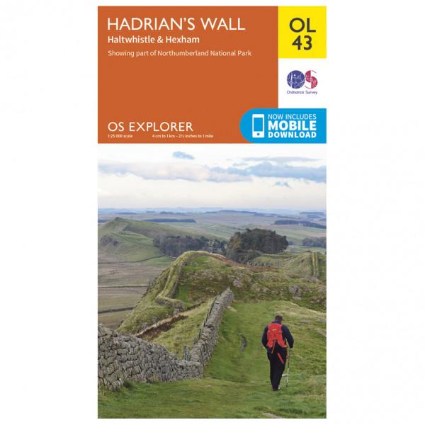 Ordnance Survey - Hadrian's Wall / Haltwhistle / Hexham Outdoor - Vandrekort