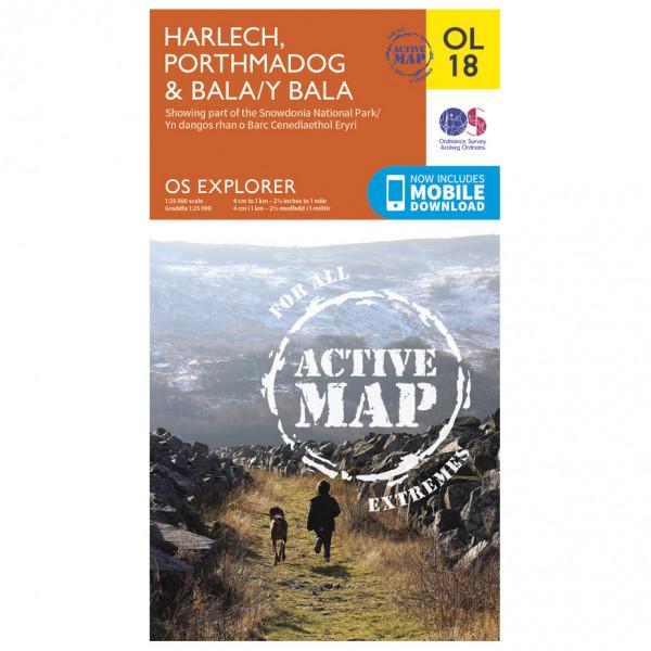 Ordnance Survey - Harlech / Porthmadog / Bala/Y Bala Waterproof - Hiking map