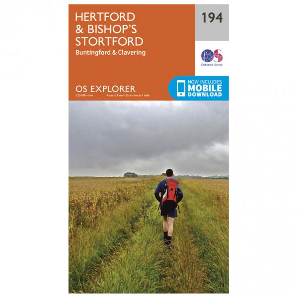 Ordnance Survey - Hertford / Bishop's Stortford - Vandrekort