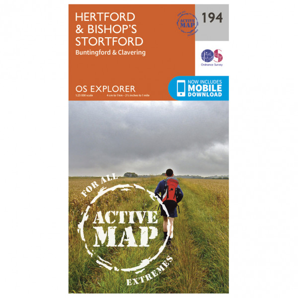 Ordnance Survey - Hertford / Bishop's Stortford Waterproof - Hiking map