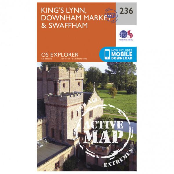 Ordnance Survey - King's Lynn / Downham Market / Swaffham Waterproof - Vaelluskartat