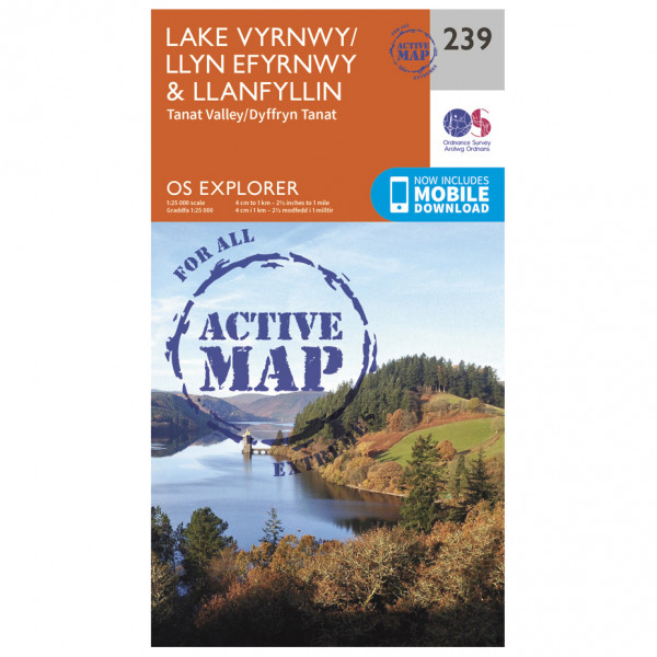 Ordnance Survey - Lake Vyrnwy / Llanfyllin / Tanat Valley Waterproof - Hiking map